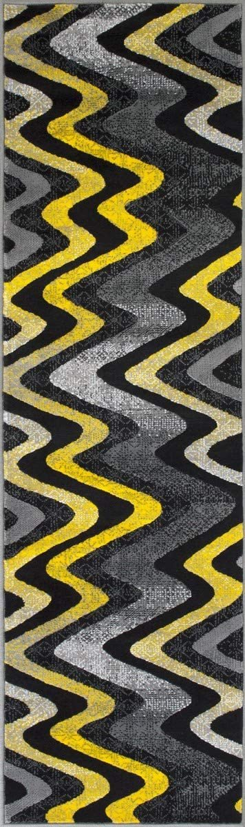 Dark Yellow Gray Black Silver Abstract Area Rug Modern Zigzag Wave