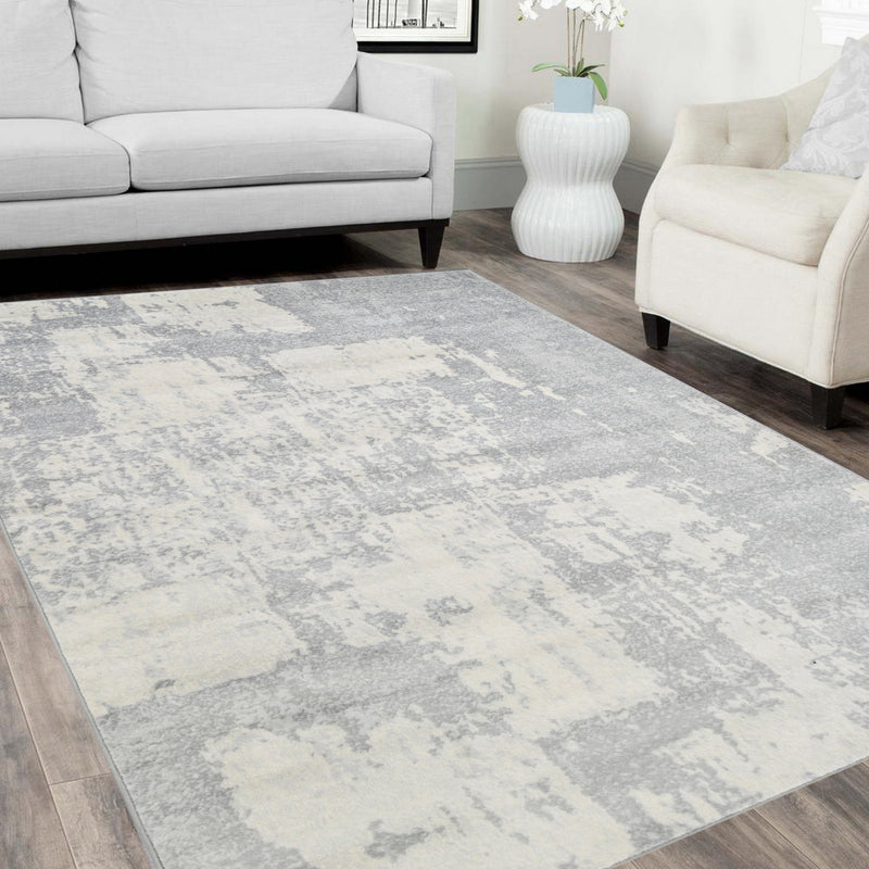 Handcraft Rugs– Silver/Ash Gray/Ivory/Ocean Blue-Faded, Distressed Area Rug – Modern Waterfall Abstract Rug – Paint Brush Stroke Multicolor Design Rug