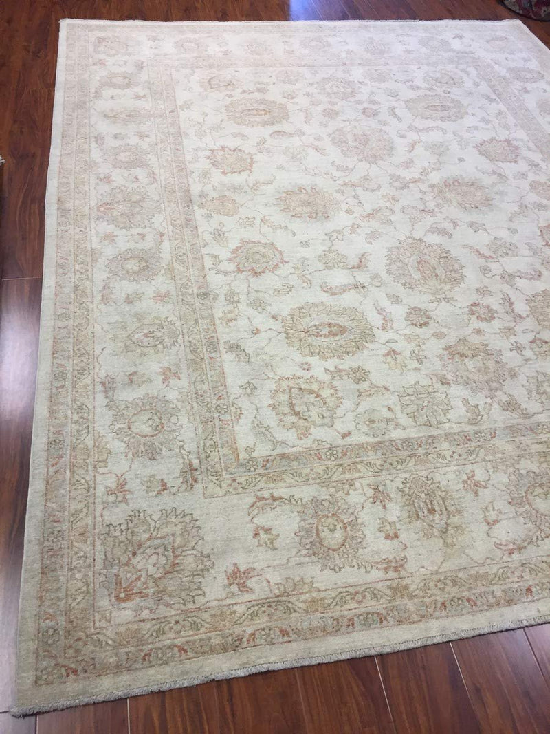 Hand Knotted Pakistani Rug-Ziegler-Ivory/Beige/Multi-(8.1 by 10.2 Feet)
