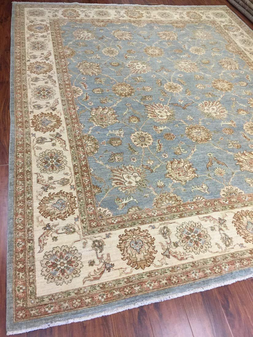 Authentic Handmade fine Pakistan Rug-Real Wool Allover Stone Washed-Sky Gray/Beige-(8.1 by 9.9 Feet)