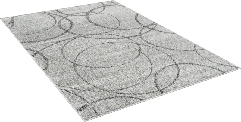 Silver/Ash Gray Circle Pattern Fashion Rug (7x10 feet)
