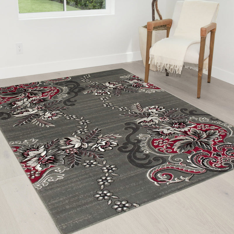 Lava/Grey/Silver/Black/Abstract Area Rug Floral Pattern