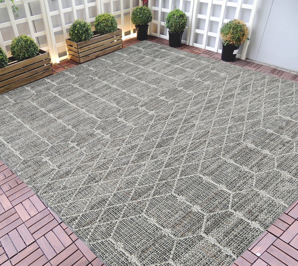 HR Indoor Outdoor Area Rugs 8x10 Moroccan Trellis Pattern Gray Outdoor Carpet-Lasts Long Under Sunlight-Grey Ivory