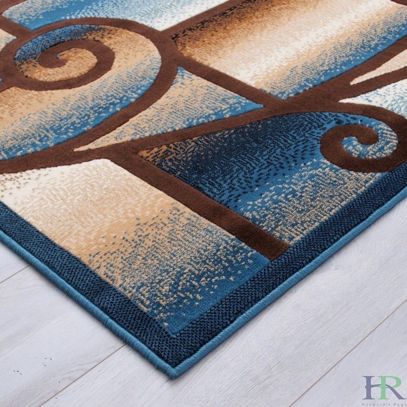 "HR-Modern Living Room Rugs-Abstract Carpet with Geometric Swirls Pattern-Blue/Beige/Ivory/Chocolate (1'96""x 3'3"")"