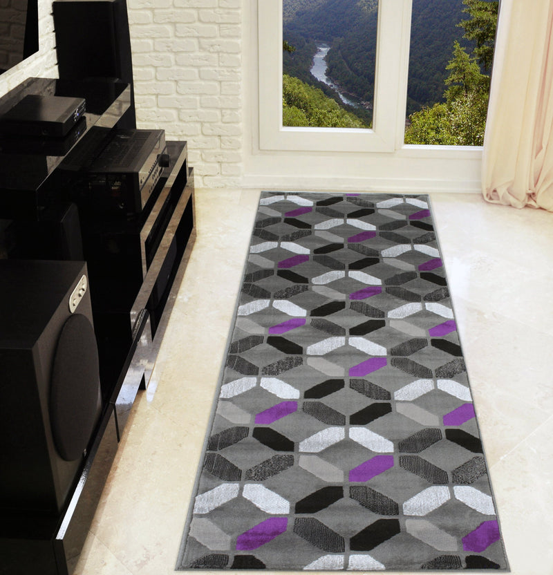 Purple Gray Black Silver Abstract Area Rug Abstract/Geometric Pattern