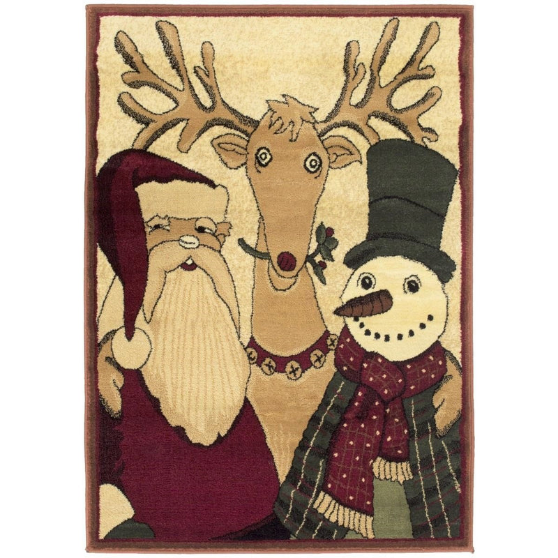 HR Santa on sled Rug Red Holiday Rugs (Approximately 3 ft. by 5 ft.)