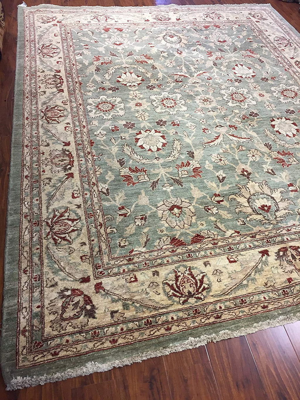 Authentic Handmade fine Pakistan Rug-Real Wool Allover Pattern-Green/Gold-(8 by 10.1 Feet)