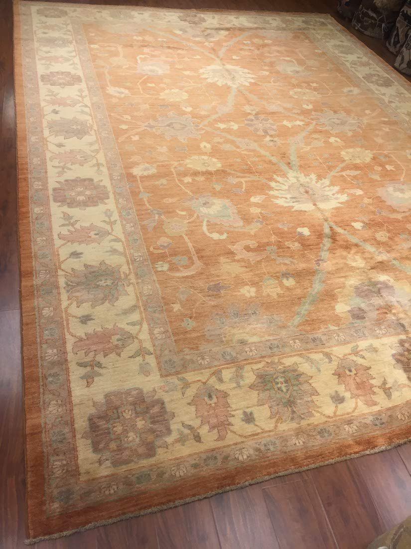 Authentic Handmade fine Pakistan Rug-Real Wool Ziegler Pattern Faded/Vintage-Rust/Gold/Multi-(9.10 by 13.7 Feet)