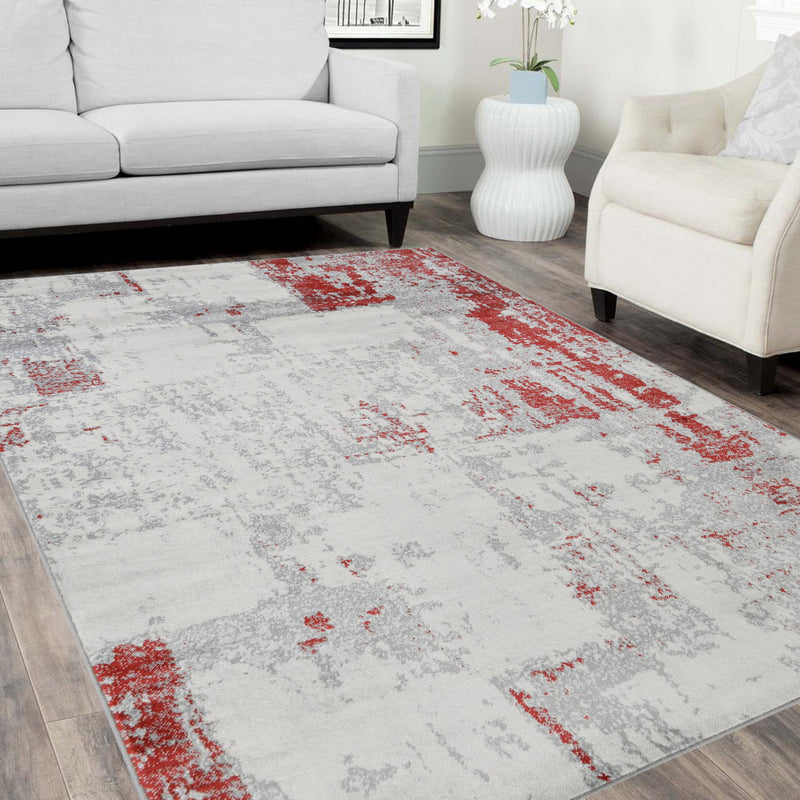 Red Gray Silver Black Abstract Area Rug Modernpatchwork Pattern Frloral (5' x 7')