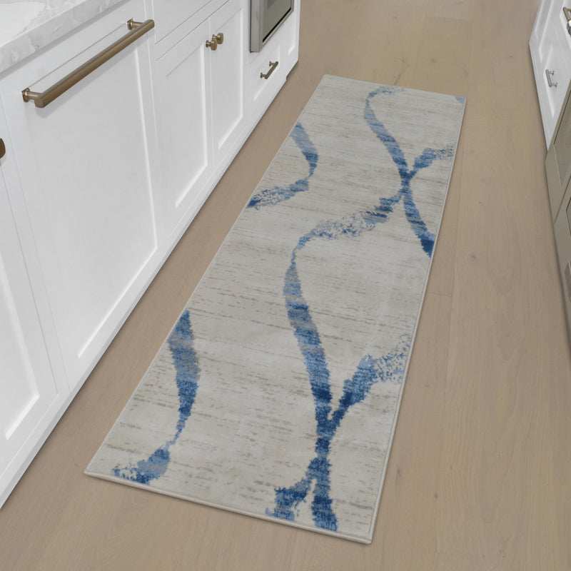 Ultra Soft Wide Swirls Area Rug -Cream/Aqua Blue-907