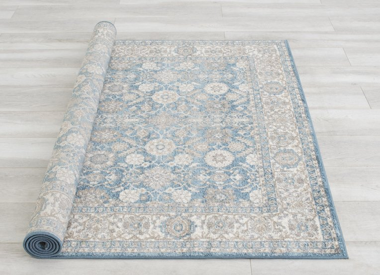 Silver/Ash Gray/Ivory/Light Blue-Faded, Oriental Distressed