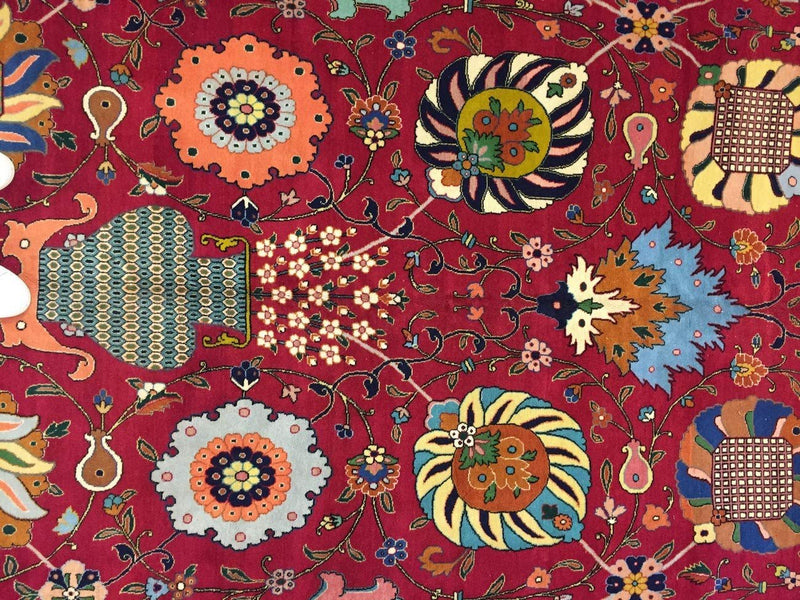 Hand Knotted Persian Tabriz Rug-Real Wool Allover Floral -Navy Blue/Red/Multi-(13 by 9.6 Feet)