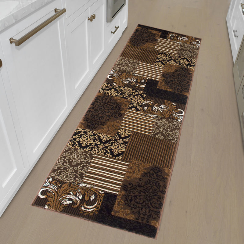 "Brown Chocolate Beige Abstract Area Rug Modern Patchwork Pattern Frloral (1'96"" x 6'96"" Runner)"