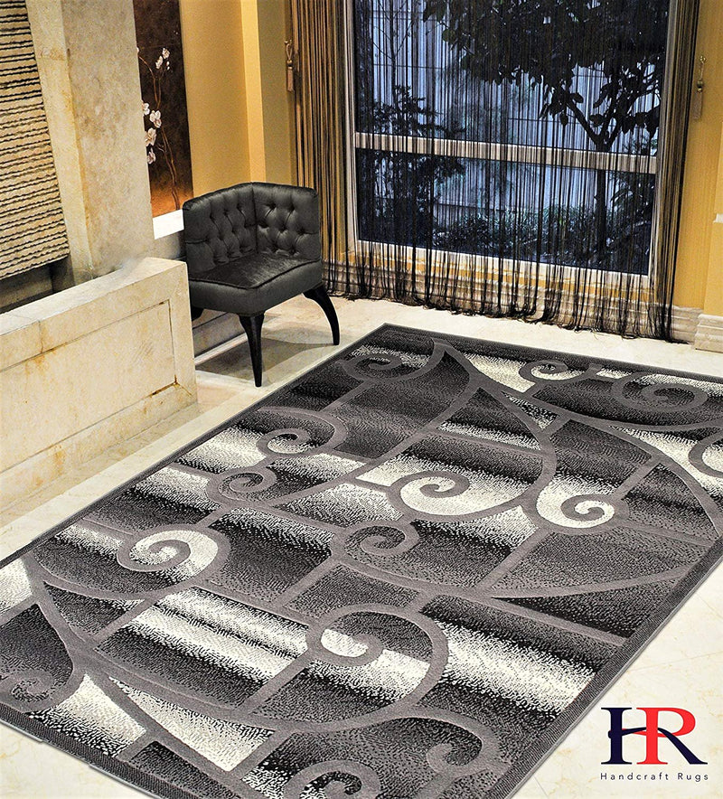 "HR-Contemporary Living Room Rugs-Abstract Carpet with Geometric Swirls Pattern-Gray/Black/White/Ivory (5'2""x 7'2"")"
