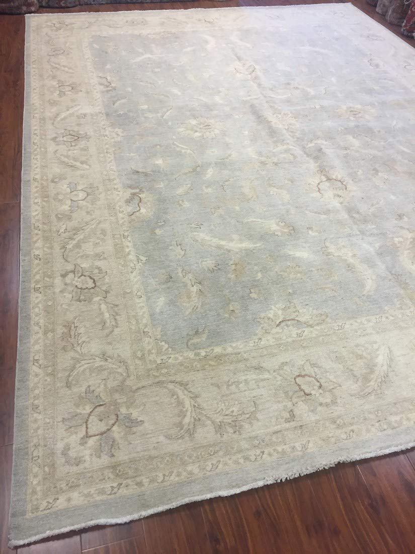 Authentic Handmade fine Pakistan Rug-Real Wool Ziegler Pattern Stone Washed-Sky Blue/Ivory-(9.11 by 13.4 Feet)