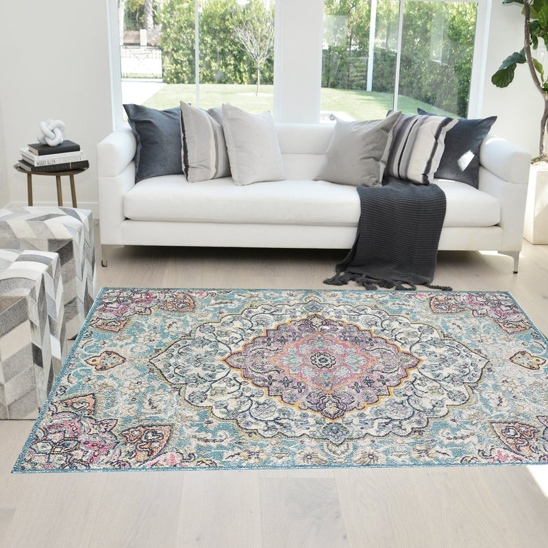 Faded Oriental Distressed Modern Vintage Design Persian Area Rug Navy Blue/Aqua Blue/Multicolor