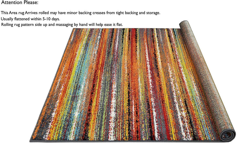 Colorful Stripped Rainbow Area Rug