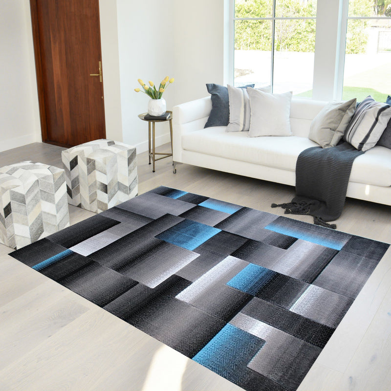 Purple/Grey/Silver/Black/Abstract Area Rug Modern Rug