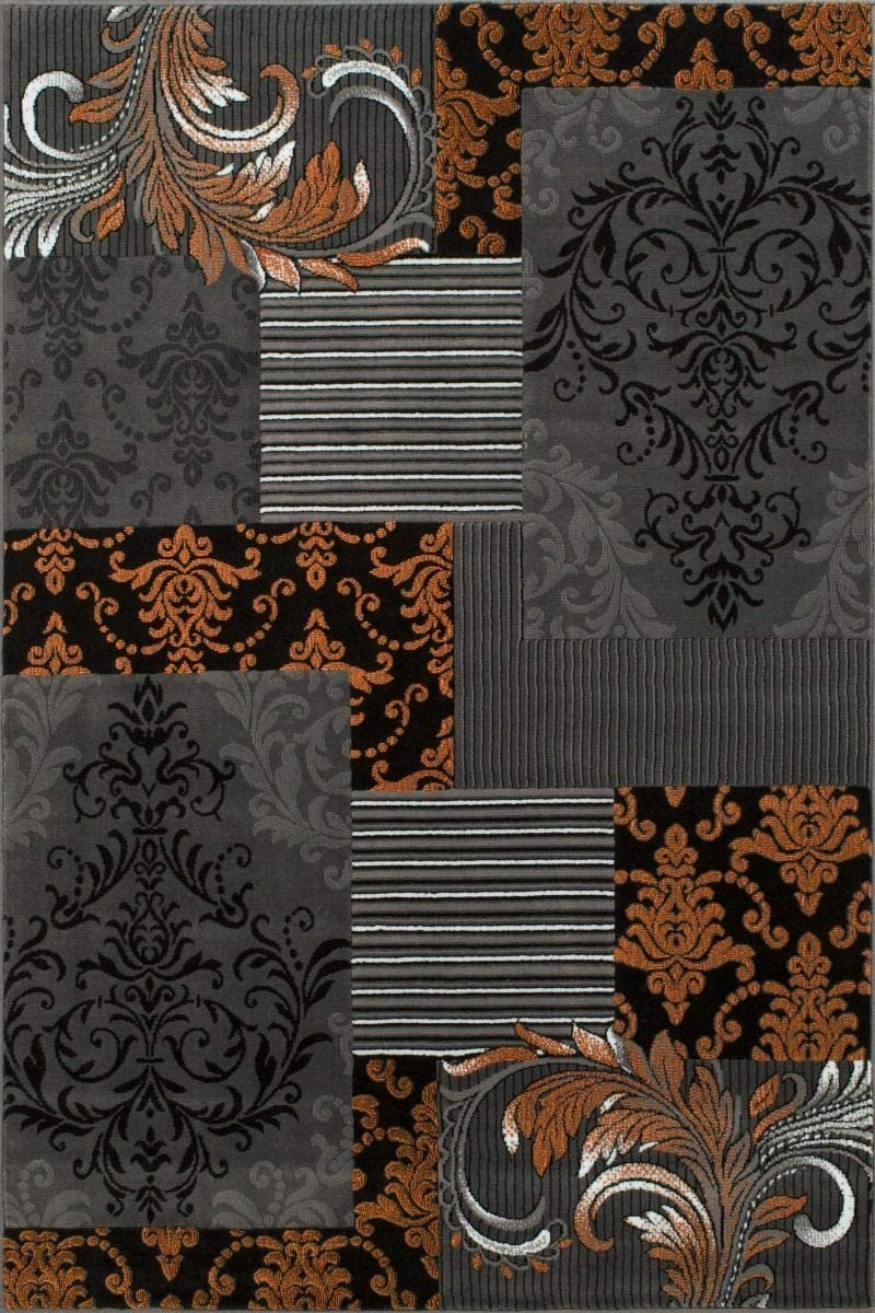 Orange Gray Silver Black Abstract Area Rug Modernpatchwork Pattern Frloral (5' x 7')