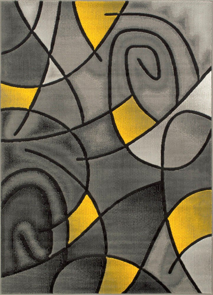 Yellow/Grey/Silver/Black/Abstract Area Rug Modern