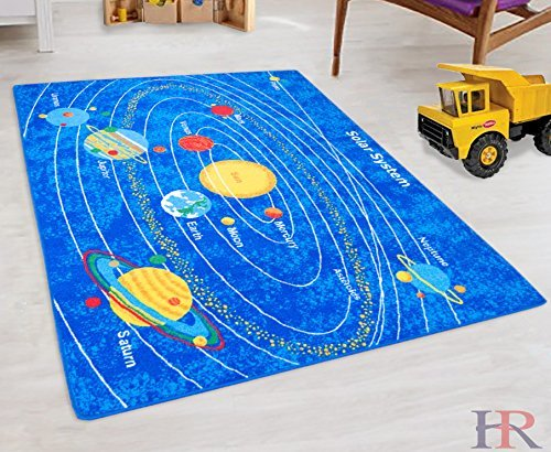 Solar System Kids Educational play mat For School/Classroom/Kids Room/Daycare/Nursery Non-Slip Gel Back Rug Carpet-(3 by 5 feet)