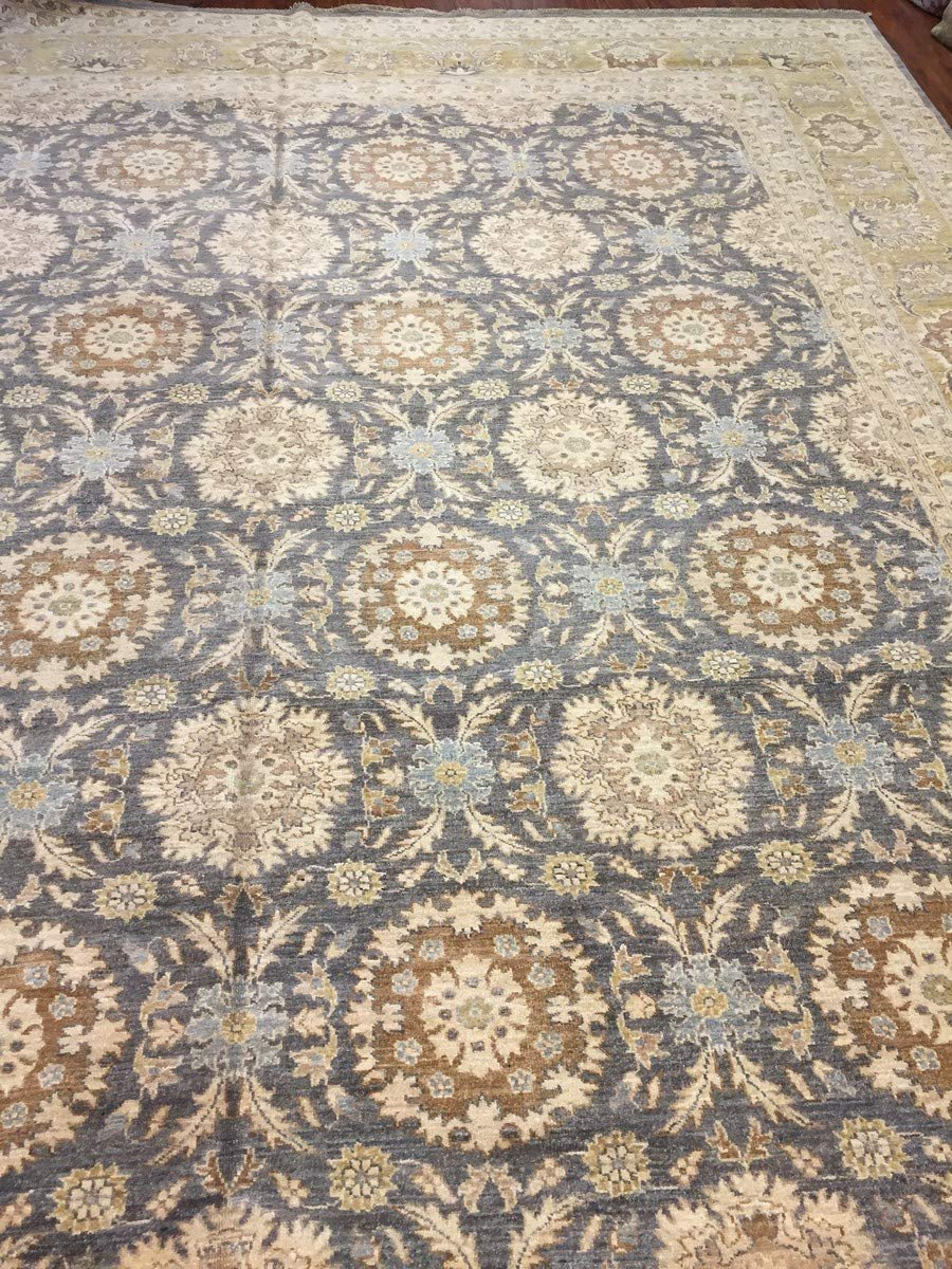 Authentic Hand-Knotted Pakistani Rug-Allover Floral-Olive/Gray-(11.10 by 14.9 Feet)
