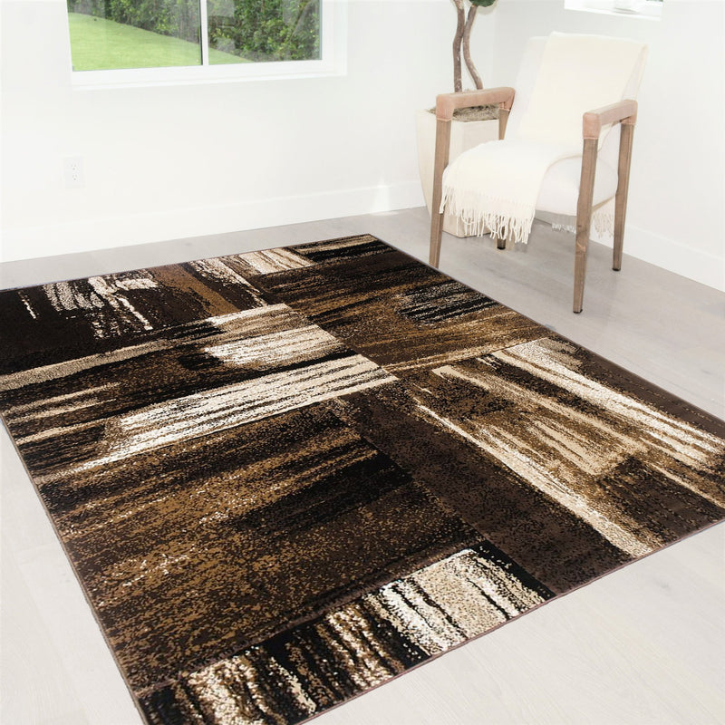 Brown Chocolate Beige Abstract Area Rug Abstract/Brush Pattern