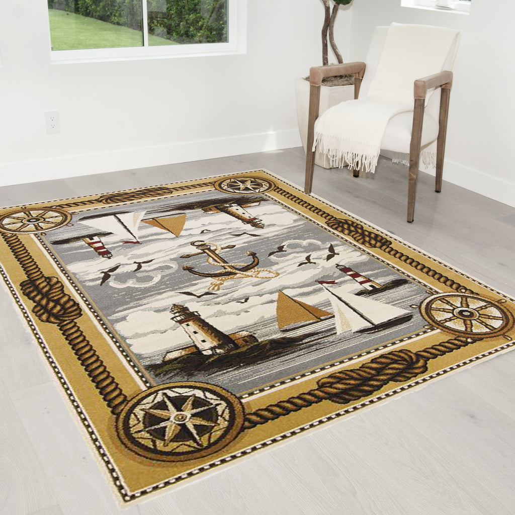 Lodge, Cabin Sailing Accent Area Rug  Lighthouse/Anker/Sailing Boats