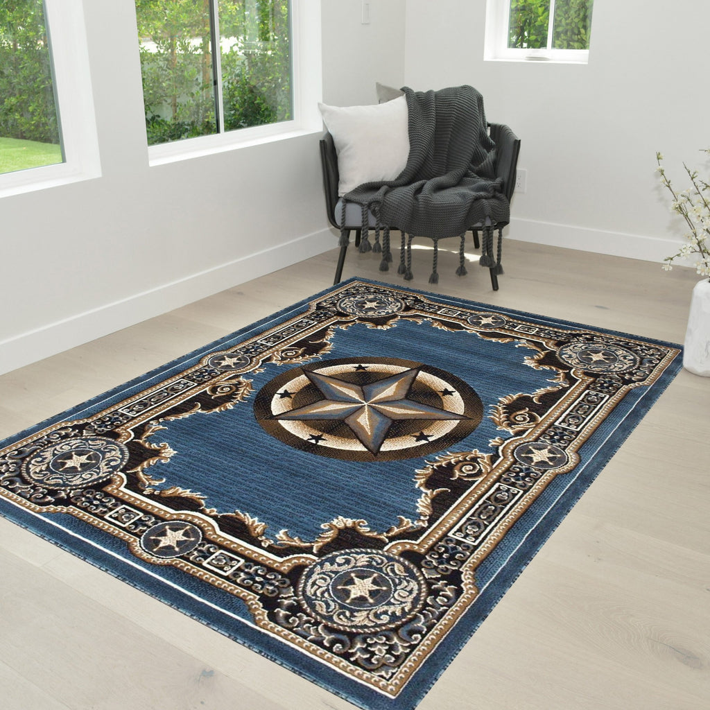 Texas Star Rug Traditional Accent Rug in Blue with Chocolate