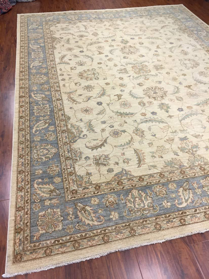 Authentic Handmade fine Pakistan Rug-Wool Ziegler Pattern Stone Washed-Sky Gray/Ivory-(9 by 12.2 Feet)