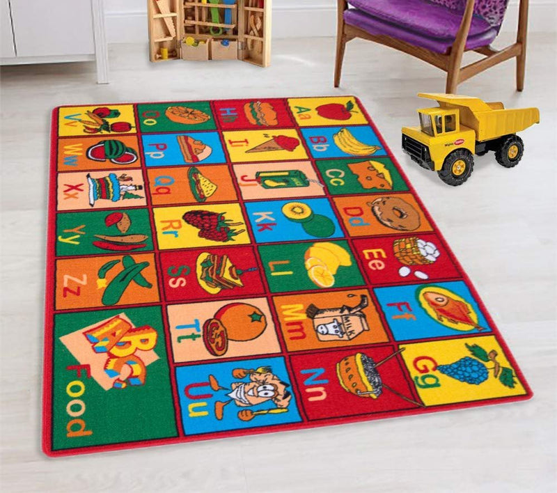 Teaching ABC Food/Fruits Kids Educational Play mat Non-Slip