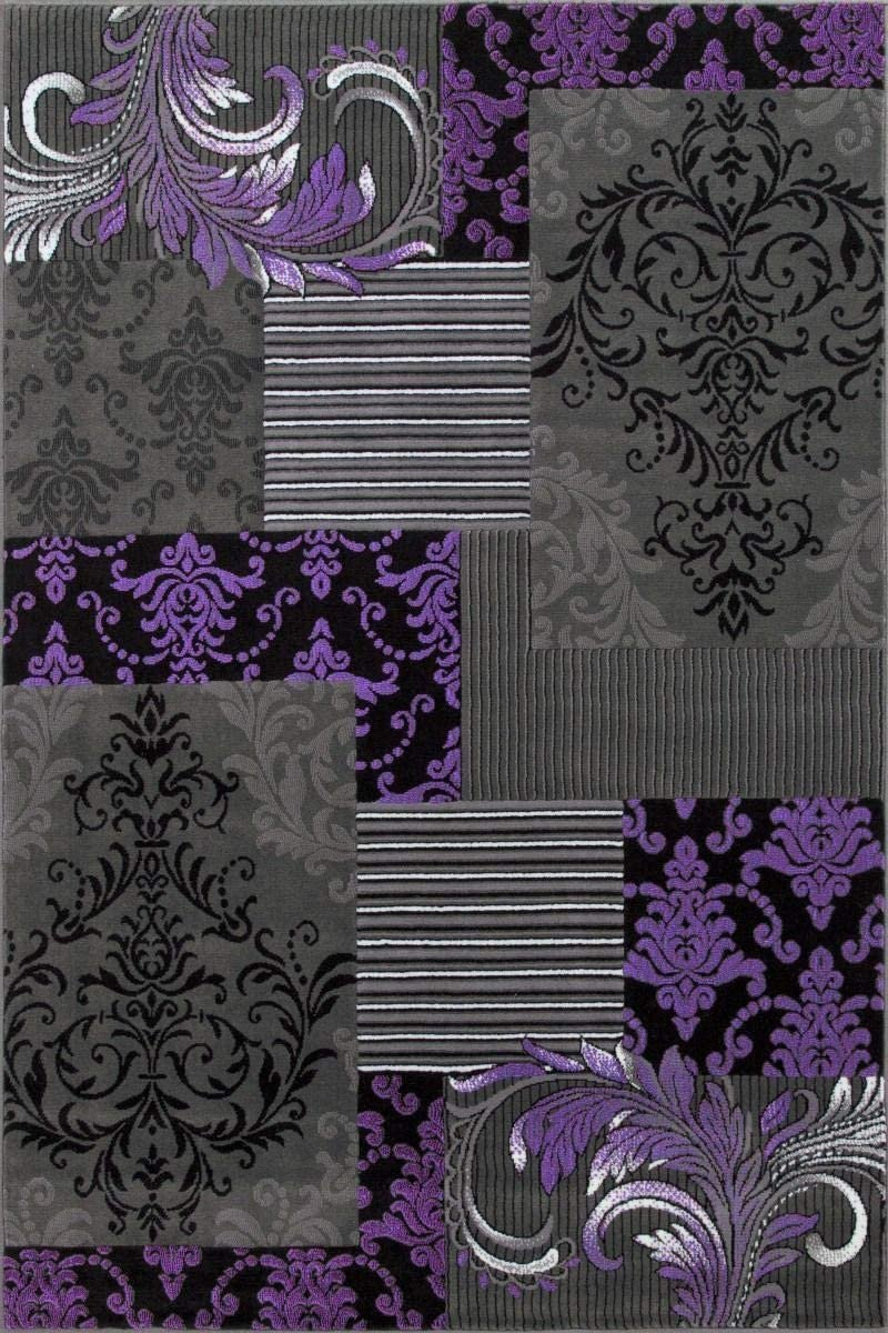 Purple Gray Black Silver Abstract Area Rug Modernpatchwork Pattern Frloral (5' x 7')