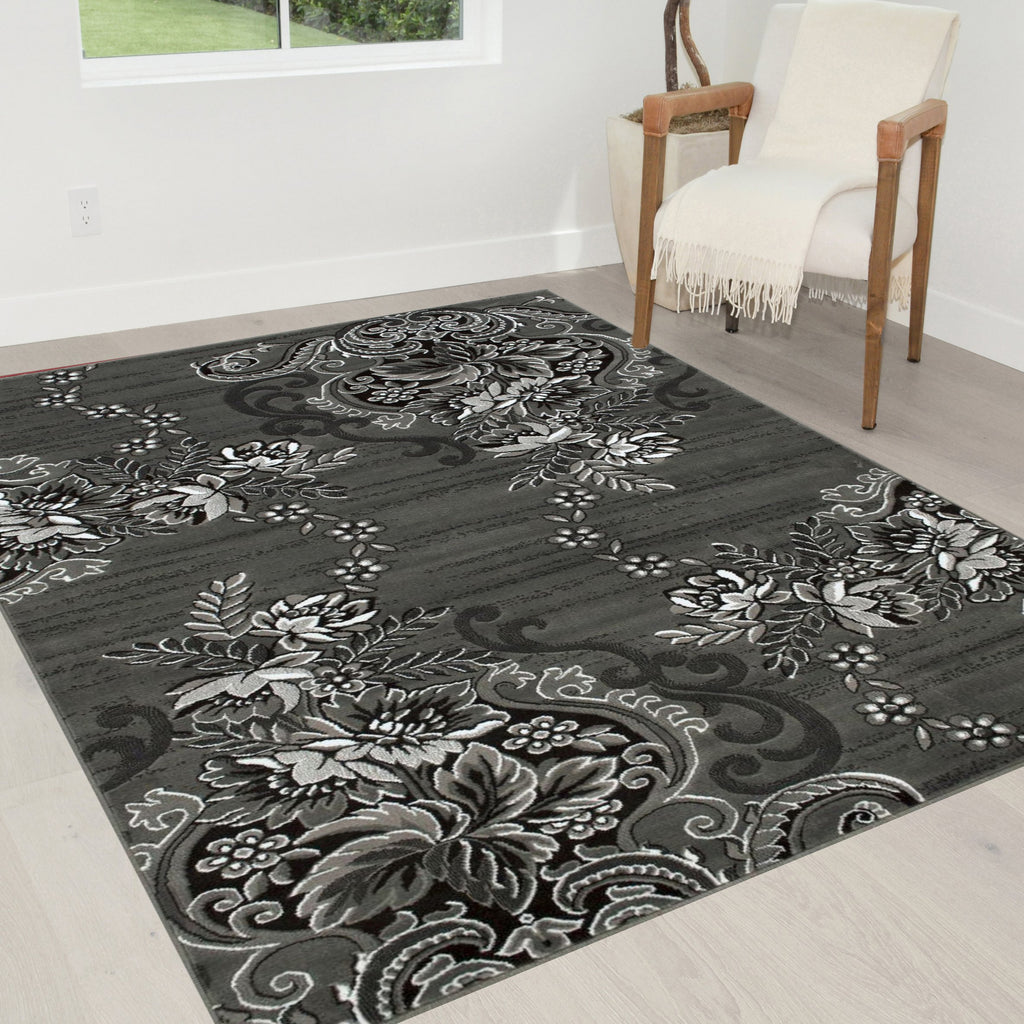 Grey/Silver/Black/Abstract Area Rug Modern Contemporary Floral and Swirlls Design Pattern