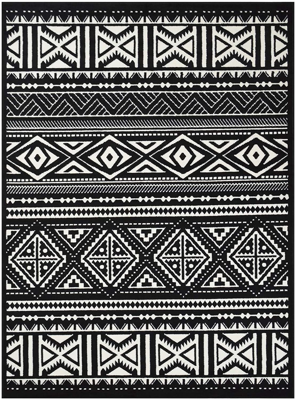Southwestern Rug for Living Room Antiqued Trellis Black and White Area Rug Boho Décor Rugs for Bedroom