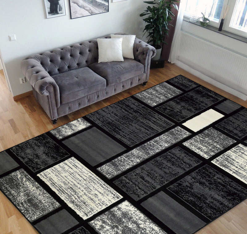 Square Pattern Area Rug 5x7 Geometric Pattern Modern Black & Grey Carpet Comfy shed Free Stain Resistant