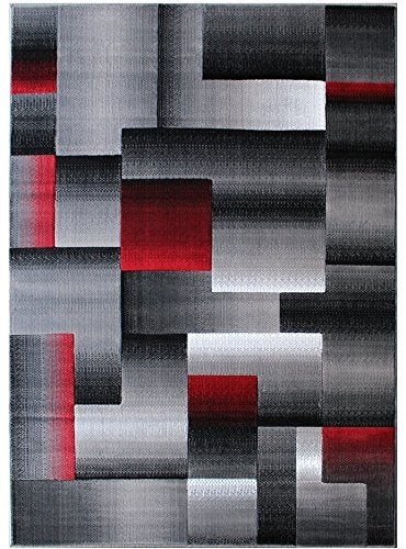 Handcraft Rugs Blue/Silver/Gray Abstract Geometric Modern Squares Pattern Area Rug 2 ft. by 3 ft. (Doormat)