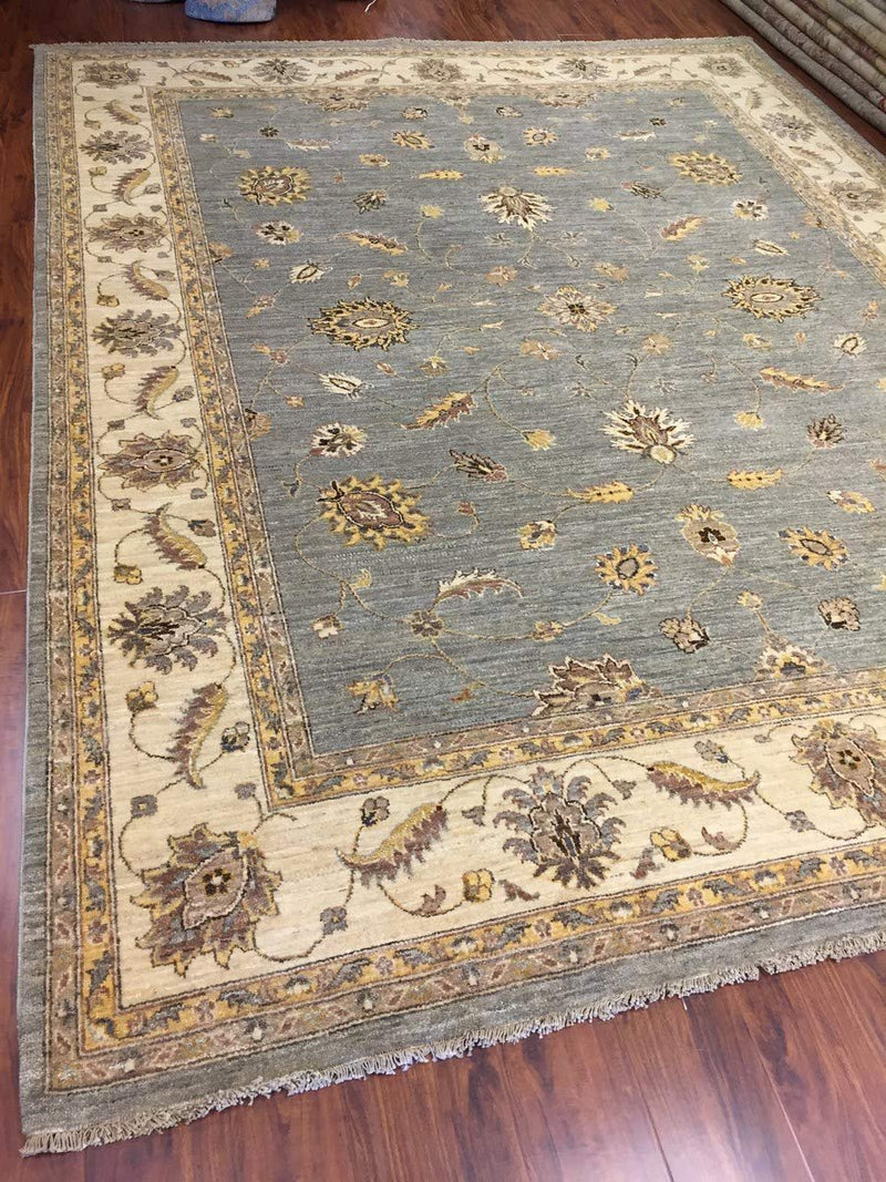 Hand Knotted Pakistani Rug-Ziegler-Gray/Beige/Yellow Multi-(10.4 by 8.2 Feet)