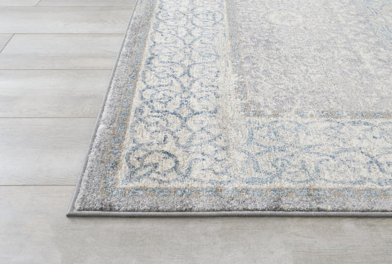 Silver/Ash Gray/Ivory/Light Blue-Faded, Oriental Distressed – Modern Vintage Design– Abstract, Persian Rug