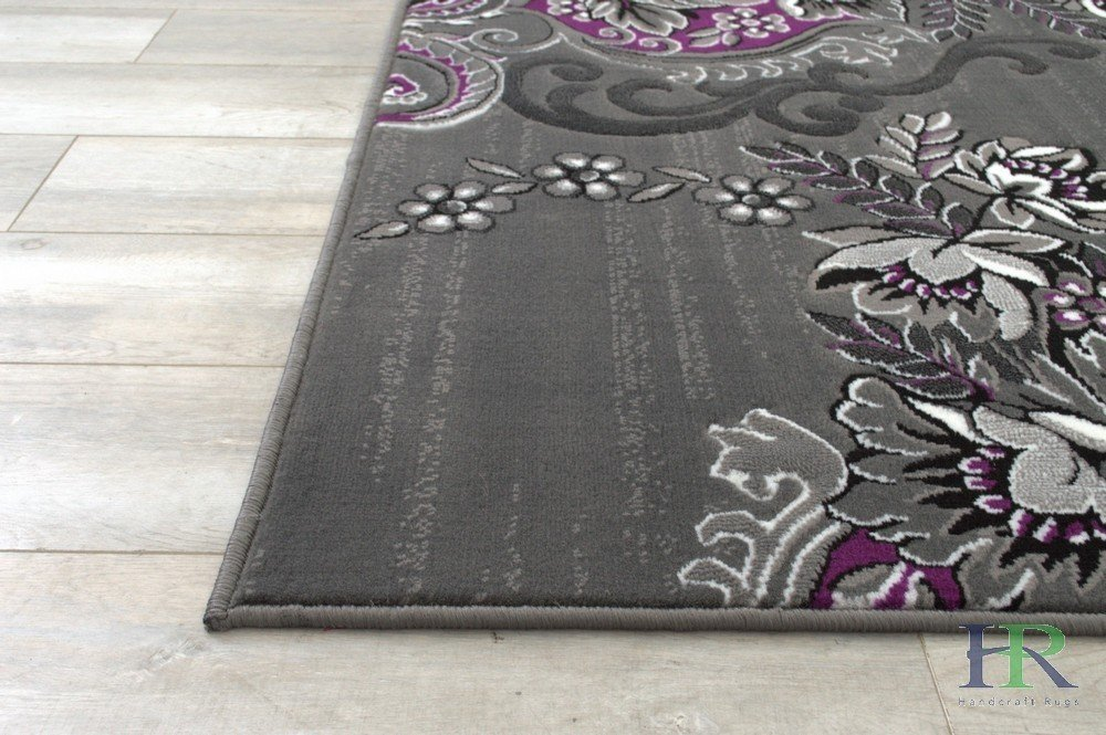 Purple Grey Silver Black Abstract Area Rug Modern Floral Rug Handcraft Rugs
