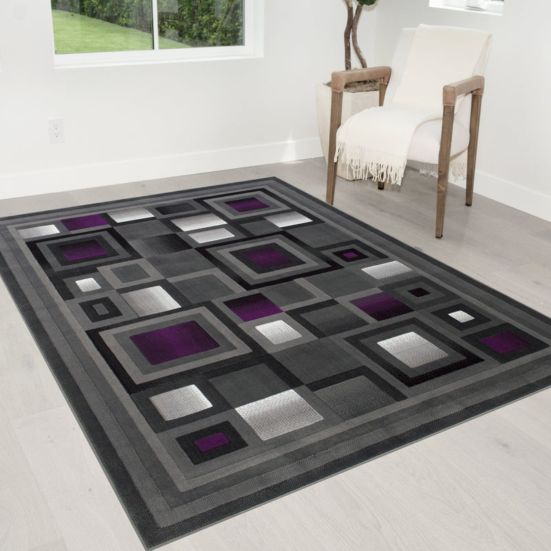 Area Rug Modern Contemporary Geometric - Lava/Grey