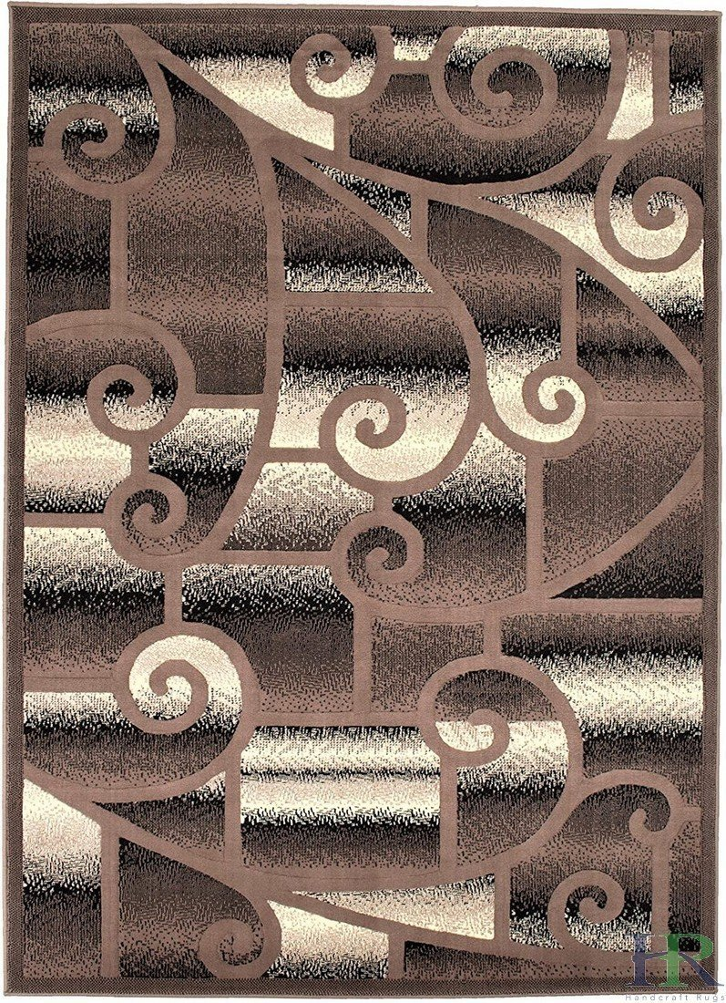 "HR-Modern Contemporary Living Room Rugs-Abstract Rug,Geometric Swirls Pattern-Khaki/Black/White/Ivory (5'2""x 7'2"")"