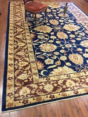 Authentic Handmade fine Pakistan Rug-Real Wool Ziegler Pattern Stone Washed-Navy/Beige-(8.3 by 12 Feet)