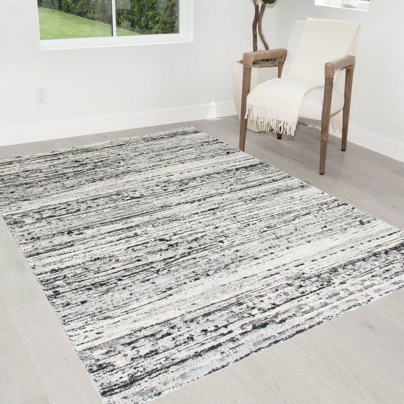 Geometric Stripes Area Rug 5x7 Oval Pattern Modern Black & Grey Carpet Comfy shed Free Stain Resistant