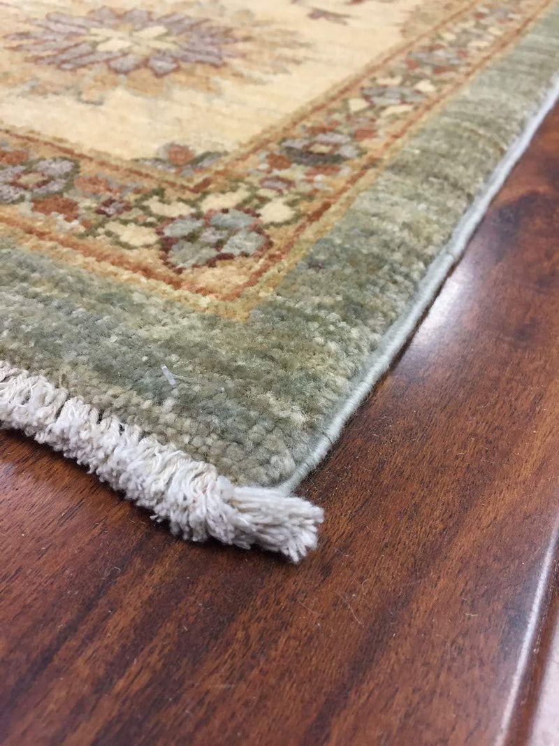 Hand Knotted Pakistani Rug-Ziegler-Green/Beige/Multi-(8.3 by 9.7 Feet)