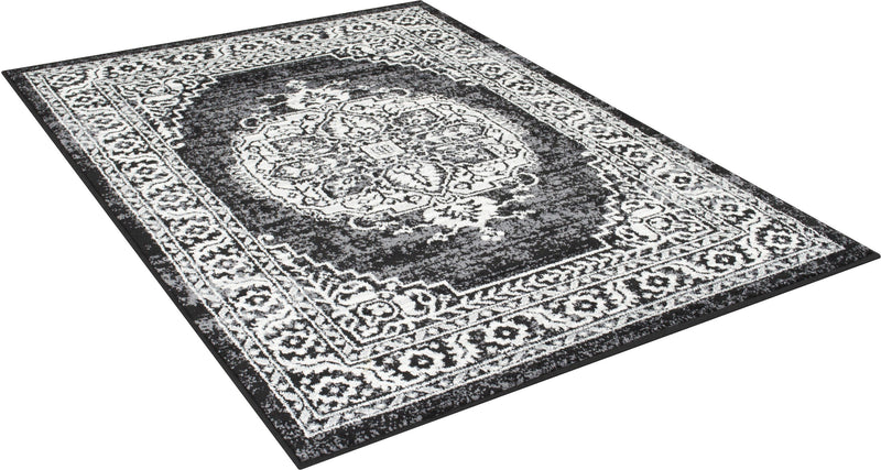Black/White/Charcoal Faded Distressed Rug Vintage Rug