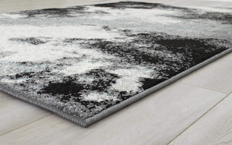 Abstract Rugs Clouds Pattern Carpet Gray Black White