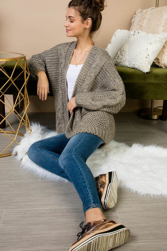 Marit Cable Knit Sweater Cardigan