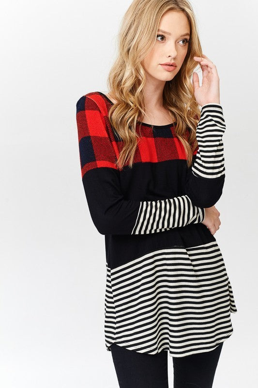 Play on Plaid Color Block Tunic