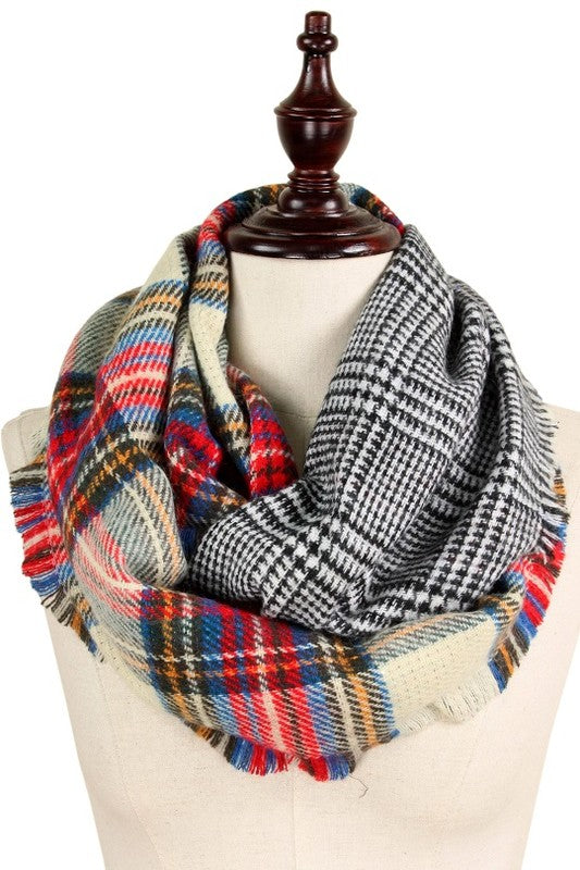 Mad About Plaid Infinity Scarf - Beige