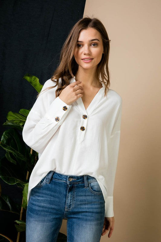 Crystal V-Neck Button Trim Blouse